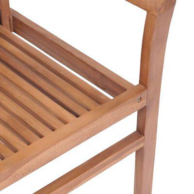 vidaXL spisebordsstole 2 stk. med lysegrønne hynder massivt teaktræ