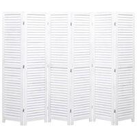 vidaXL 6-panels rumdeler 210 x 165 cm træ hvid