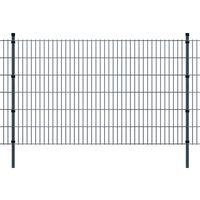 vidaXL 2D paneler og pæle til havehegn, 2.008x1.230 mm, 16 m, grå