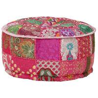 vidaXL puffe med patchwork rund bomuld håndlavet 40 x 20 cm pink