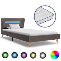 vidaXL seng med LED og madras i memoryskum 90 x 200 cm stof gråbrun