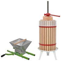 vidaXL sæt med frugt- og vinpresser og kværn 2 dele