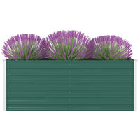 vidaXL hævet blomsterbed 160 x 80 x 45 cm galvaniseret stål grøn