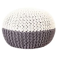 vidaXL håndstrikket puf 50x35 cm bomuld antracitgrå og hvid