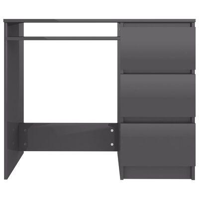 vidaXL skrivebord 90x45x76 cm spånplade højglans grå