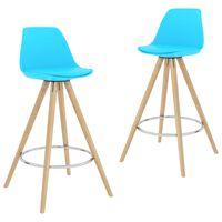 vidaXL barstole 2 stk. PP og massivt bøgetræ blå