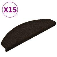 vidaXL selvklæbende trappemåtter 15 stk. 65x21x4 cm tuftet mørkebrun