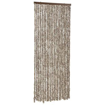 vidaXL insektgardin 56x185 cm chenille gråbrun og hvid