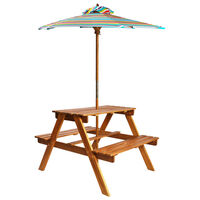 vidaXL picnicbord med parasol til børn 79x90x60 cm akacietræ