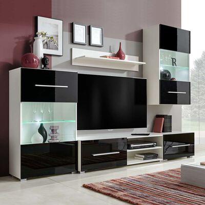 vidaXL TV-møbel i fem dele med LED-belysning sort