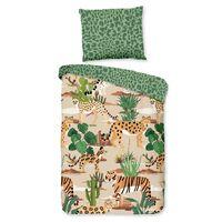 Good Morning sengetøj til børn FELINES 100x135 cm sandfarvet og grøn