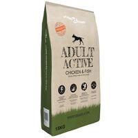 vidaXL luksustørfoder til hunde Adult Active Chicken & Fish 15 kg