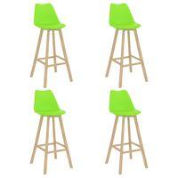 vidaXL barstole 4 stk. PP og massivt bøgetræ grøn