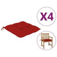 vidaXL hynder til havestole 4 stk. 50x50x7 cm stof rød