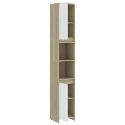 vidaXL badeværelsesskab 30x30x183,5 cm spånplade hvid og sonoma-eg