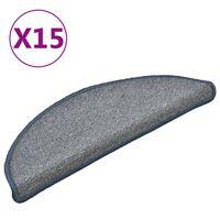 vidaXL trappemåtter 15 stk. 56x17x3 cm lysegrå og blå