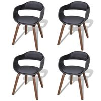 vidaXL spisebordsstole 4 stk. bøjet træ og kunstlæder sort