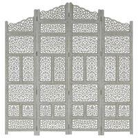 vidaXL 4-panels rumdeler håndskåret 160x165 cm massivt mangotræ grå