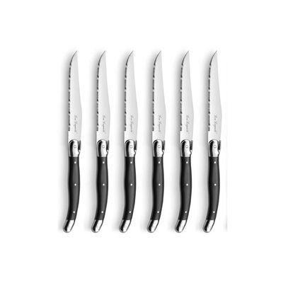 Lou Laguide steakknivsæt 7 dele i knivblok antracitgrå