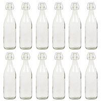 vidaXL glasflaske med patentlåg 12 stk. 1 l