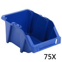 vidaXL stabelbare opbevaringskasser 75 stk. 153 x 244 x 123 mm blå