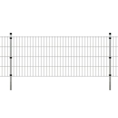 vidaXL 2D paneler og pæle til havehegn, 2008x830 mm, 8 m, sølv