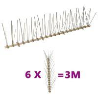 vidaXL fuglepigge 5 rækker sæt af 6 stk. 3 m plastik