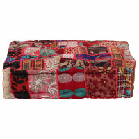 vidaXL puffe med patchwork firkantet bomuld håndlavet 50 x 50 x 12 cm rød