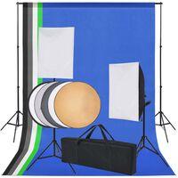vidaXL fotostudieudstyr: 5 farvede kulisser og 2 softbokse