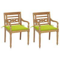 vidaXL Batavia-stole 2 stk. med lysegrønne hynder massivt teaktræ