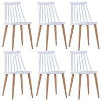 vidaXL spisebordsstole 6 stk. hvid plastik