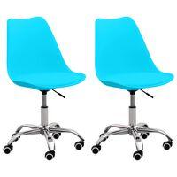 vidaXL spisebordsstole 2 stk. kunstlæder blå