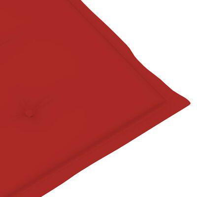 vidaXL havestole 4 stk. med røde hynder massivt teaktræ