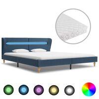 vidaXL seng med LED og madras 160 x 200 cm blå stof