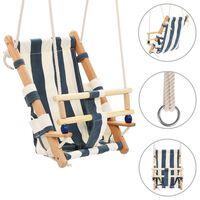 vidaXL babygynge med sikkerhedssele bomuld træ blå
