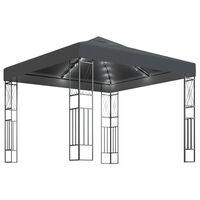 vidaXL pavillon med LED-lyskæder 3x3 m stof antracitgrå