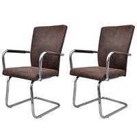 vidaXL spisebordsstole md cantilever 2 stk. kunstlæder brun
