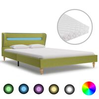 vidaXL seng med LED og madras 140 x 200 cm stof grøn