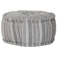 vidaXL håndlavet puf med mønster grå  50 x 25 cm bomuld