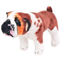 vidaXL stående plyslegetøjsbulldog hvid og brun XXL