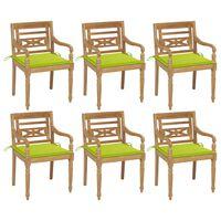 vidaXL Batavia-stole 6 stk. med hynder massivt teaktræ