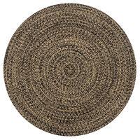 vidaXL håndlavet tæppe jute 150 cm sort og naturfarvet
