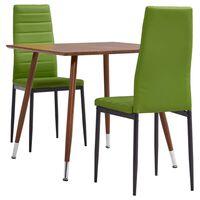 vidaXL spisebordssæt 3 dele kunstlæder limegrøn