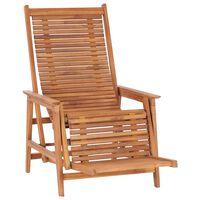 vidaXL havestol med fodskammel massivt teaktræ