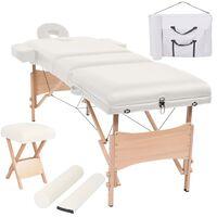vidaXL foldbart 3-zoners massagebord- og skammelsæt 10 cm tykt hvid