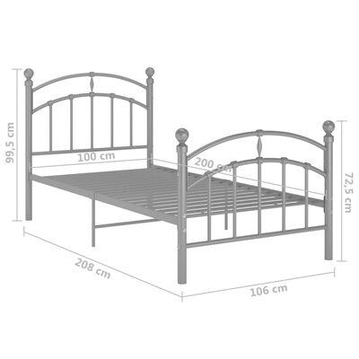 vidaXL sengestel 100x200 cm metal grå