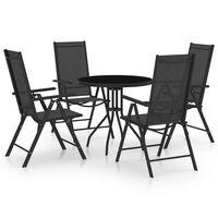 vidaXL spisebordssæt til haven 5 dele aluminium og textilene sort