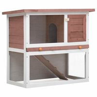 vidaXL udendørs kaninbur 1 dør træ brun