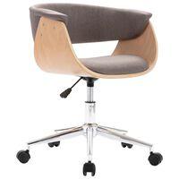 vidaXL drejelig kontorstol bøjet træ og stof gråbrun