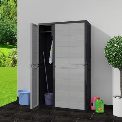 vidaXL haveopbevaringsskab med 4 hylder sort og grå